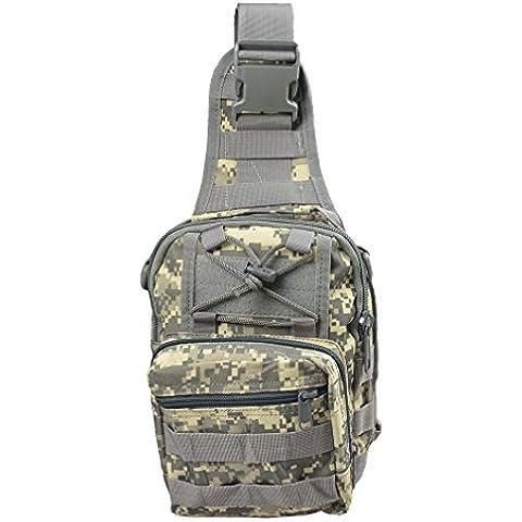 Outdoor zaino borsa a tracolla Croce Corpo petto pack tracolla militare EDC tattico Molle pesca con la mosca da campeggio trekking viaggi zaino in nylon per iPad, ACU