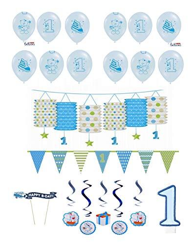 tagsdeko 1. Geburtstag Junge I 17 Teile All In One Set Luftballons Laterne Swirl Wimpel Kerze Kuchen Blau Deko Party Happy Birthday ()