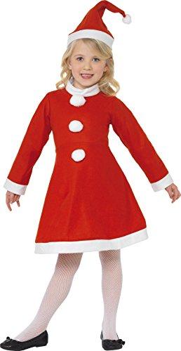Smiffys, Kinder Mädchen Weihnachtsmann Kostüm, Kleid und Mütze, Größe: M, 38385 (Kinder Kostüm Weihnachtsmann)