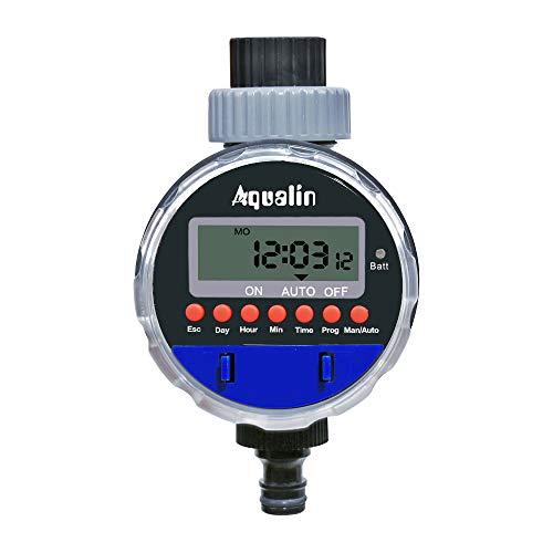 Aqualin Kugelhahn Bewässerungsuhr Automatische Elektronische Bewässerungscomputer Bewässerungssystem Wasserzeitschaltuhr für Garten Hof Farbe Blau