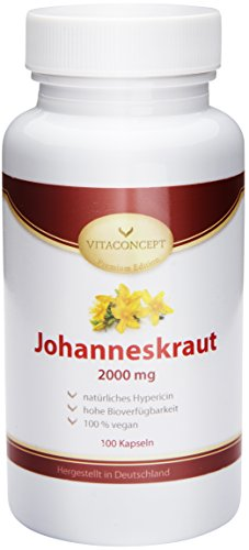 Johanniskraut-Extrakt 2000 mg *inclusive natürlichem Hypericin - Das Original nach Johannes dem Täufer (Herrgottsblut) * 100 vegetarische Kapseln hochdosiert - made in Germany - von VITACONCEPT