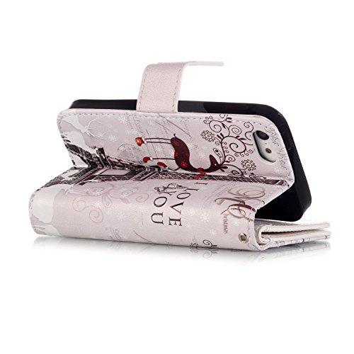 Hülle für iPhone 5s/SE Schmetterling,TOCASO Glitter Strass Bling Ledertasche Muster Weich PU Schutzhülle für iPhone 5/5S Flip Cover Wallet Case Tasche Handyhülle mit Lanyard Strap Stand Function Magne Muster #8