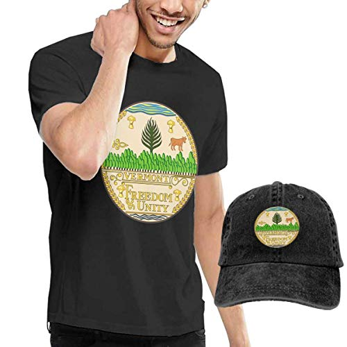 Herren Kurzarmshirt,T-Stücke,Vermont State Seal Short Sleeve T-Shirts Black (with A Cap) ComfortSoft Man's T Shirts Graphic Funny Round Neck Tee Basketball Hats Combination -