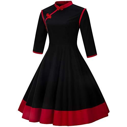 (Amphia - Stehkragen Rock,Mode Damen 3/4 Ärmel Patchwork Vintage Kleid Retro Kleid Flare Kleid(Schwarz,S))