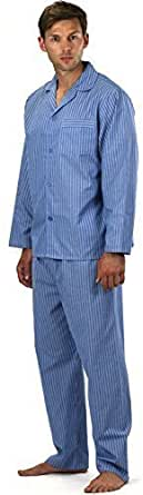 Mens Striped/Checked Woven Polycotton Spring Summer Pyjama Set Nightwear, Long Sleeve Button Up Night Shirt & Trouser (S, Sky Lines With Free Pair Of Socks)