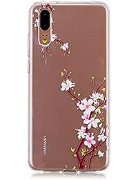 DENDICO Funda Huawei P20, Ultra Fina Silicona Piel Cárcasa para Huawei P20 Cárcasa Transparente Protectora [Protección de Bordes] - Ciruelo