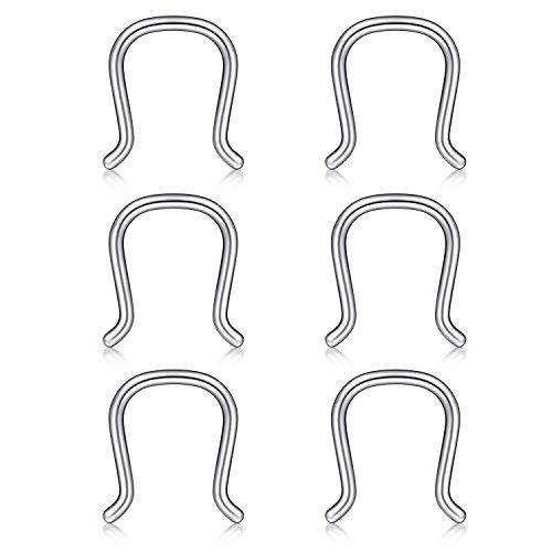Briana Williams 316L Chirurgenstahl Retainer U Form Hufeisen Nase Piercing Septum Hanger Nasenring 16g 6tk Silber