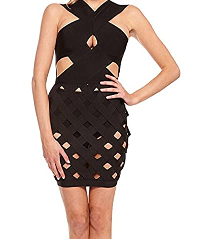 Bling-Bling Dress Women's Black Celeb Style Crisscross Caged Bandage Dress