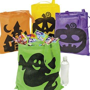4 große neonfarbene Halloween-Geschenktüten für Süßigkeiten- oder Süßigkeiten-Taschen, aus Polyester/Geist, Kürbis/Hexe/Ikonisch, 40,6 x 40,6 cm (Und Leckereien Halloween-süßigkeiten)