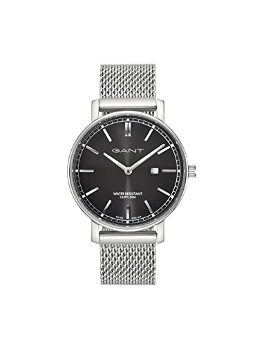 Gant Nashville Men's Quartz Watch with Black Dial Analogue Display and Silver Stainless Steel Strap Gt006008