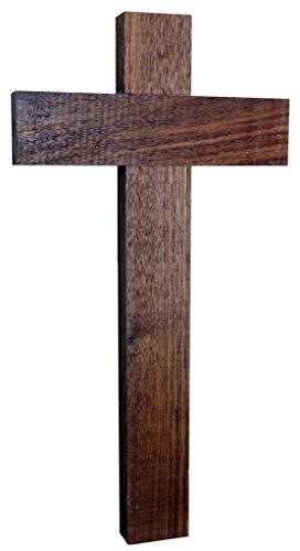 Kaltner Präsente Geschenkidee - Wandkreuz Echt Nussbaum Holz Kreuz Holzkreuz Kruzifix für die Wand 35 cm klassisch