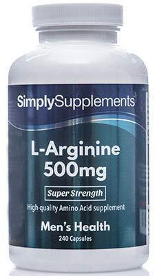 L-Arginin 500mg - 240 Kapseln - Versorgung für bis zu 8 Monaten - fördert die sexuelle Gesundheit - Simply Supplements
