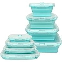 Lounaya Boîte à Lunch Pliante en Silicone 4 Pcs Support Pliable conteneurs de Stockage de Nourriture Silicone Pliable…