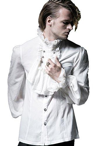 Gothic Herren Victorian Retro Freizeit Spitze Stehkragen Shirts Steampunk Männer Mittelalterlicher Edelmann STYL Kostüm Hemd Tops (M, ()