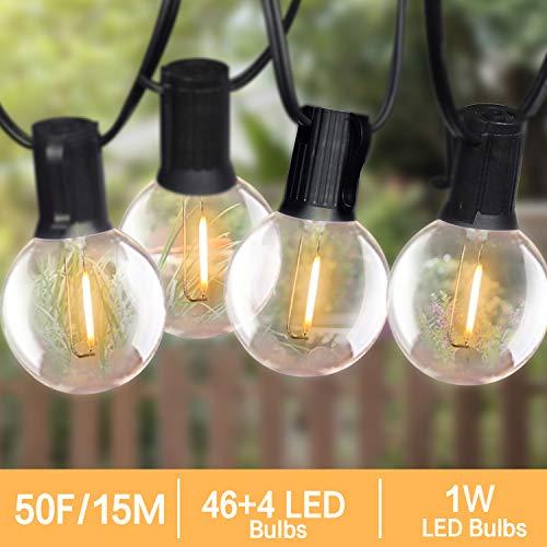 Guirlande Guinguette Extérieur, Bomcosy Guirlande Lumineuse Extérieure 15M G40 46 LED ampoules avec 4 ampoules Rechange, Etanche IP45 pour Soirée, Mariage, Jardin, Magasin Blanc Chaud 2700K