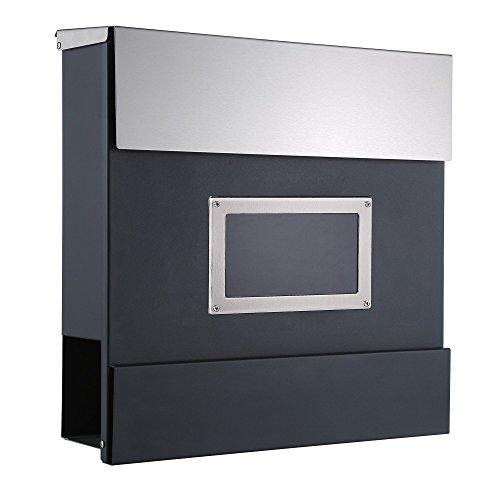 """ZELSIUS Wandbriefkasten """"Turin"""", Briefkasten mit Sichtfenster und Zeitungsfach, Postkasten, Mailbox"""