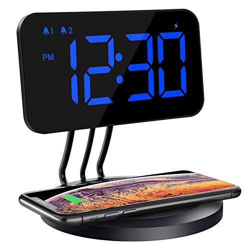 Mpow Digital Wecker Wireless Charger, Digitaler Wecker mit kabellose Ladegerät, 6 stufige Helligkeit, Dual Alarm, 3 Klingeltöne mit 2 stufiger Lautstärke, für Qi Ladegeräte aktiviert.