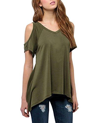 Minetom Donne Moda Sexy Senza Spalline Clubwear Casuale Cime Sciolti Camicetta Army Green 44