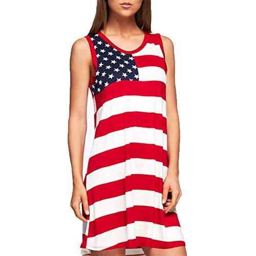 MAYOGO American Flag Spitze Einsatz Damen V-Ausschnitt Tank Tops USA Flagge Shirt Ärmellos Bluse USA Flagge Sommerkleid Damen Sommer Kleider Amerika Flagge Kleidung