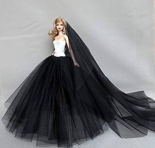 MM schwarzes Hochzeitskleid mit Schleier Abendkleid für Barbie-Puppe