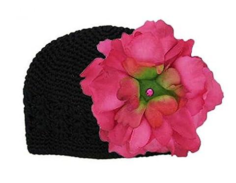 Black Crochet Hat with Raspberry Large Peony, Size: 12-18m