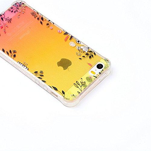 Custodia iPhone 5S Glitter, iPhone SE Cover Silicone, SainCat Custodia in Morbida TPU Protettiva Cover per iPhone 5S/SE, Bling Glitter Strass Diamante 3D Design Transparent Silicone Case Ultra Slim So fiori