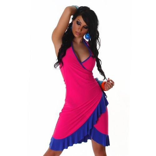 Cocktailkleid Kleid Tanzkleid V-Ausschnitt zweifarbig - Einheitsgröße 34,36,38 - (Kleid Salsa Sexy)