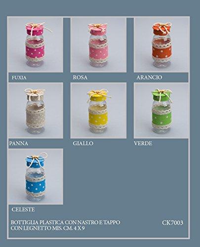 Pianeta Confetti Lot de 18 Bouteilles en plastique avec ruban et bouchon + morceau de bois, 9 x 4 cm, idéal pour bonbonnière, porte-nom - coloris assortis (CK7003)