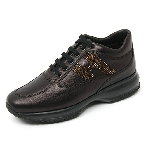 B9428 sneaker donna HOGAN INTERACTIVE scarpa H strass marrone scuro shoe woman Marrone scuro
