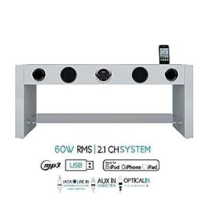 SOUNDVISION SoundStand80W Meuble TV HiFi Blanc bluetooth