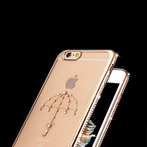 Copertura per 4.7 Apple iPhone 6/6s, MAOOY Flessibile Oro di Lusso Floreale Border Placcatura Back Cover in Gomma Morbida Trasparente Protettiva Custodia Brillantini Resistente ai Graffi Case per iPh Ombrello Oro