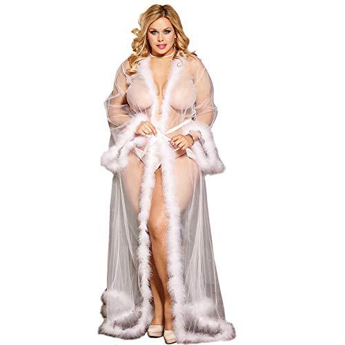 Plus Size Schiere Robe (HJG Dessous für Frauen Lace Kimono Robe Schiere langes Kleid durchsichtig Nachthemd, Mesh Chemise, Braut Dessous, Plus Size (weiß),M)