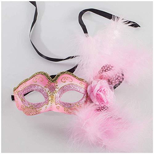rade-Spitze-Masken-Halloween-Weihnachtsfest-Schönheits-halbe Gesichts-Dame Wearing Mask (Color : Pink) ()