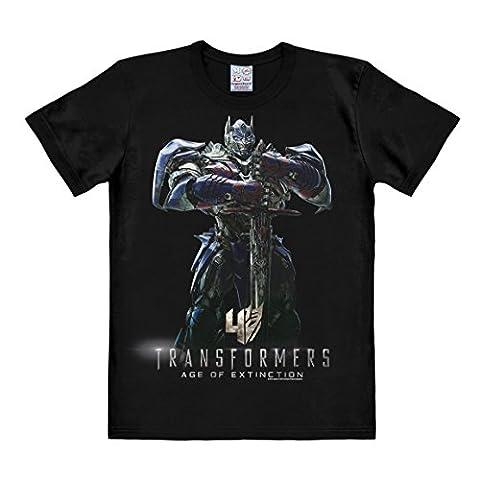 Transformers 4 T-Shirt - Optimus Prime - Ära des Untergangs - Age of Extinction - Rundhals Shirt von LOGOSHIRT - schwarz - Lizenziertes Originaldesign, Größe L