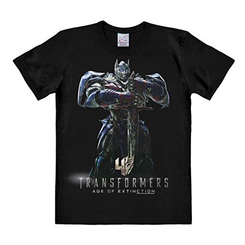 rt - Optimus Prime - Ära des Untergangs - Age of Extinction - Rundhals Shirt von LOGOSHIRT - schwarz - Lizenziertes Originaldesign, Größe M (Retro Roboter Kostüm)