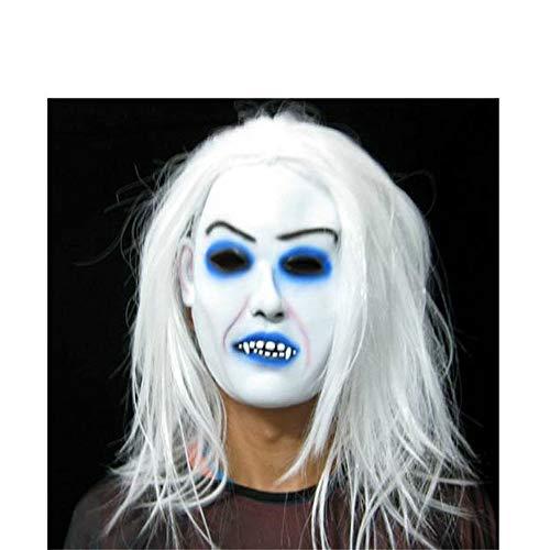 NUOKAI Halloween Maske Terrorist Kopfbedeckungen Ghost Scary Männer und Frauen Grimasse Masquerade Teufel Latex Clown Maske, weißes Haar weiße Gesichtsmaske
