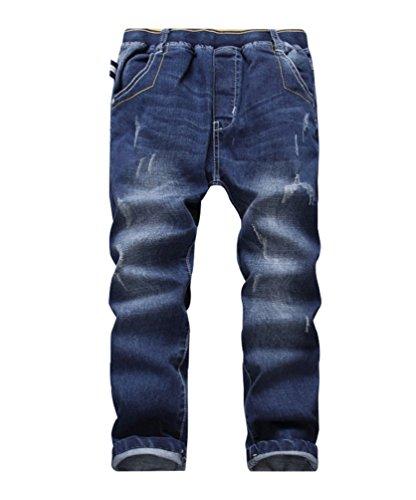 YoungSoul Jungen Jeanshosen - Jeans mit Abschürfungen - Kinder Hose mit elastischem Bund Loose Fit 152-164