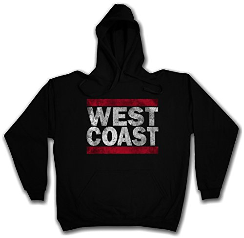 WEST COAST HOODIE HOODED PULLOVER SWEATER SWEATSHIRT MAGLIONE FELPE CON CAPPUCCIO – Sizes S – 2XL Nero