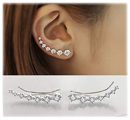 Elensan1 Bling Ohrklemmen 7 Kristalle 925er Sterling Silber Hypoallergen (White) (Ring Opal 5 Größe)