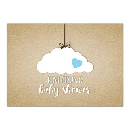8 x Einladung Baby Shower Party/Einladungskarten mit Umschlag im Set/Motiv: Wolke auf Kraftpapier Look - blau Junge/Babyparty Karte/Postkarte/