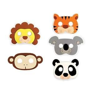 Kikkerland KKGG17-A Masque de Fêtes Jungle Assortie Lion/Panda/Singe/Tigre/Koala