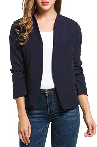 Beyove Damen Kragenlos Blazer Business Jacke Cardigan Sakko Klassisch Kurzjacke Anzugjacke (EU 46(Herstellergröße: XXXL), C+Dunkelblau)