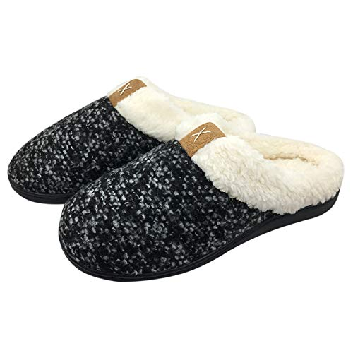 9fc4d74f6febc Slippers for Women Breathable Cotton Memory Foam House Shoes w/Indoor  Outdoor Sole Lady Soft Gridding Coral Velvet Short Plush Lining Slip-on  Clog ...