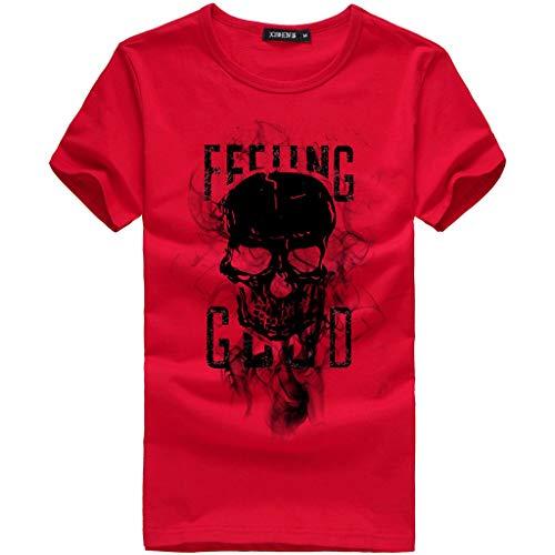 en Männer Sommer Kurzarm Totenkopf Drucken T-Shirt mit Rundhals-Ausschnitt Basic Tees Fashion Einfaches T-Shirt Sweatshirts Tops Für Männer S-3XL ()