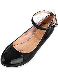 COOLCEPT Moda Mujer Tacon Bajo Al Tobillo Bombas Zapatos Dulce Comodo Zapatos for Colegio Chicas