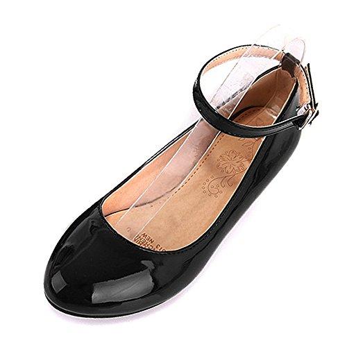 COOLCEPT Mode Femmes Talon bas Sangle de cheville Escarpinss Doux Confortable Chaussures for Ecole Filles Noir