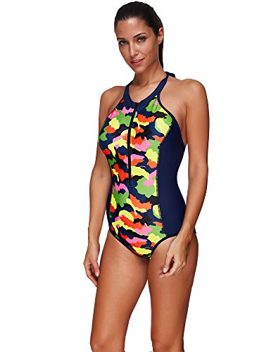 BaronHong Frauen One Piece Badeanzug Badeanzüge Sexy Strappy Zip Up Sport Bikini Color2