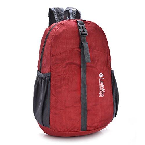 TigerFighting Ultralight Packable Daypack dello zaino Zaino per il campeggio esterno di viaggio in bicicletta Rosso