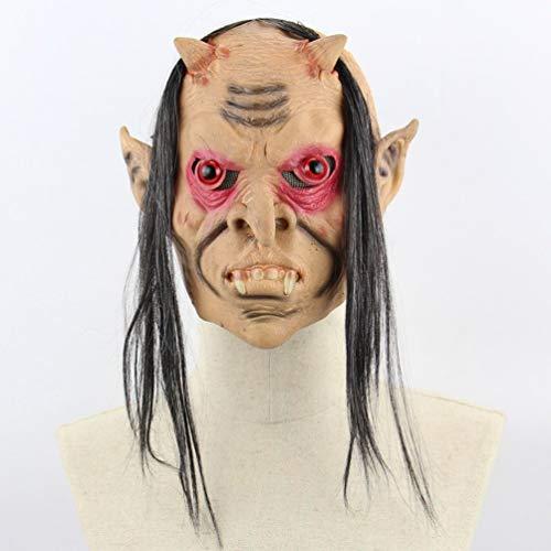 (Oyamihin Latex Lange rote Augen Teufel Halloween Prom Requisiten Weihnachten lustige Horror Maske - Hautfarbe)