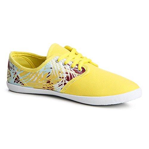 topschuhe24 729 Damen Sneaker Turnschuhe Blumenprint Gelb
